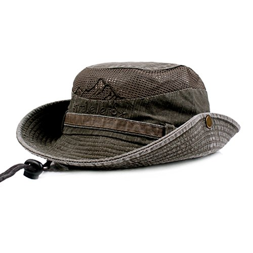 Charmylo Baumwolle Sonnenhut Herren Sommerhut UV Schutz Wanderhut Fischerhut Trekking Faltbar SafariHut mit Kinnband Outdoor Buschhut Hiking Bucket Hat