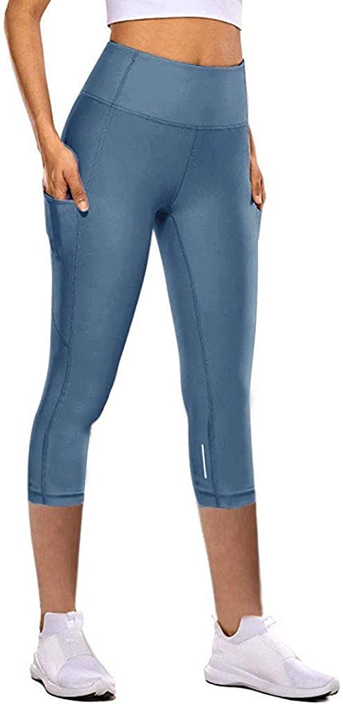 CHAOEN Leggins Damen 7//8 Yoga Hosen Sporthose High Waist Tight Mit Tasche Fitness Leggings Trainingshose Stretch Langhosen Kurze Pants