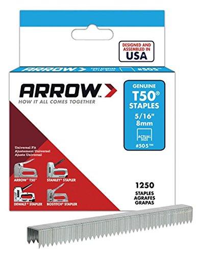 Arrow Fastener 505 6 Pack 5/16in. T50 Heavy Duty Staples, 1,250 Staples Per Pack