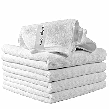Microfiber Cleaning Cloths, 5 Pack, White, Soft Microfiber Dusters, Machine Washable, Lint-Free Dust Cloths