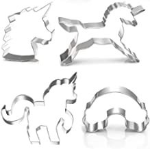 Unicorn Cookie Cutter Set by GONOMI, Larger Size, Food Graded Stainless Steel, Unicorn, Unicorn Head, Rainbow, Cute Baby Unicorn for Unicorn Party - 4 Pieces