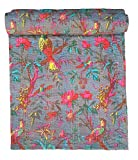 Handicrunch Bird Print King Size Kantha Quilt Gray , Kantha Blanket, Bed Cover, King Kantha bedspread, Bohemian Bedding Kantha Size 90 Inch x 108 Inch