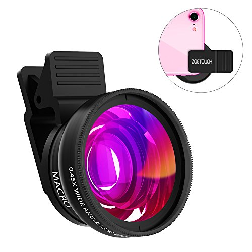 Cell Phone Lens ZOETOUCH 0.45X Super Wide Angle Lens & 12.5X Macro Lens 2 in 1 Professional HD Cell Phone Camera Lens Compatible for iPhone 8 7 6S 6S Plus 6 5S Samsung Android Smartphones