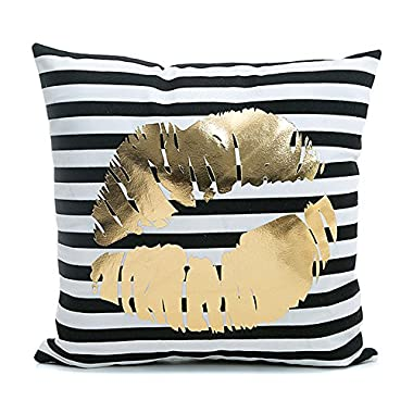 Kingla Home Home Sofa Pillowcases Black Striped Gold Lips 18  X 18  Decorative Soft Throw Pillow Covers Square Cushion Cases For Car, Chair, Valentine's Gift