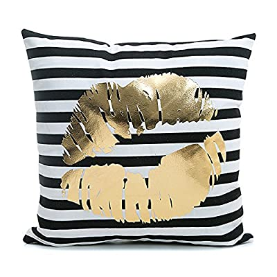 Gold Lipstick Pattern on Black and White Throw Pillow