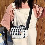 Tangyongjiao Valises et Sacs Motif de réseau Simple Frais Lollipop Mignon décoration Sac à bandoulière en Toile Casual Ladies Messenger Bag (Noir) (Couleur : Black)