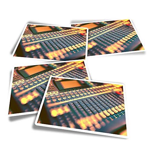 Adesivi rettangolari in vinile (set da 4) – Mixer analogico parametrico equalizzatore divertente decalcomanie per computer portatili, tablet, bagagli, libri di rottami, frigoriferi #16430