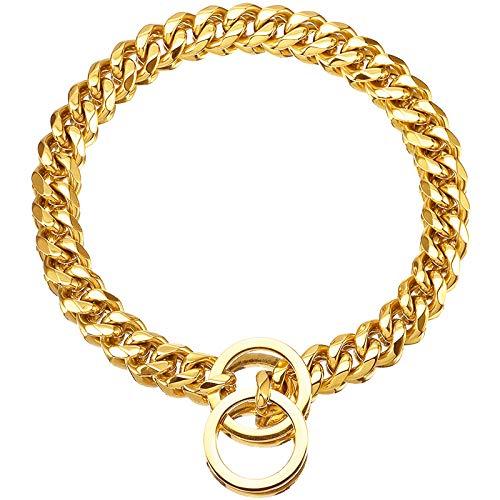 Havenfly Collar de Oro para Mascotas, Collar de Cadena Deslizante de eslabones metálicos de Acero Inoxidable Fuerte Ajustable de 18 Quilates para Perros pequeños medianos Grandes (A, 16'')