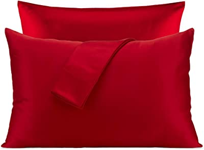 SLEEP ZONE 2-Pack Silky Soft Satin Pillowcases for Hair and Skin, Queen Size (20x30 inches) Luxury Pillow Covers with Envelope Closure, Red