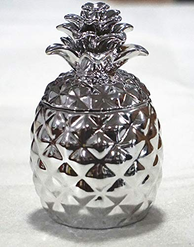 Pineapple Decorative Ceramic container with lid-cookie Jar Gift and Christmas item silver