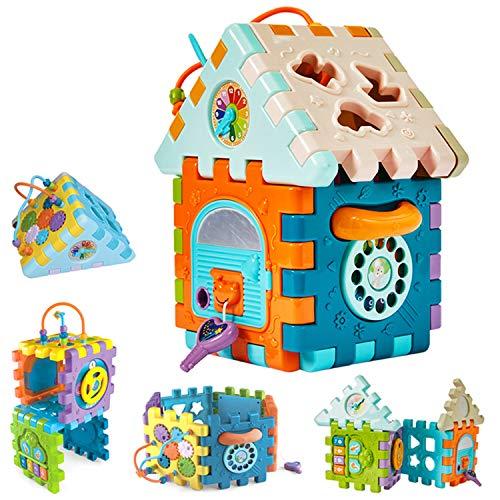 Baby Aktivität Würfel Spielzeug,9 in 1 Multifunktions spielzentrum ,mit Musikform Sortierer,Perlen Labyrinth,Spiel Spielzeug ,Geschenk für Kleinkinder Kinder 1 2 3 Jahre Jungen Mädchen 18+ Monate