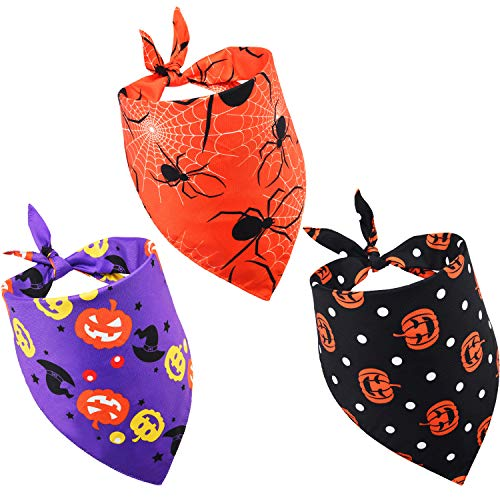 3 Pieces Pet Bandanas Halloween Dog Scarf Triangle Bandana Bibs with Pumpkin Spider Witch Hat Printed for Halloween Pet Costume Accessories Decoration