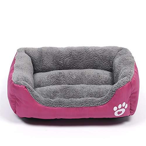 YABAISHI hondenkooi, puppy, bed, dieren, honden, katten, banken, warme deken van katoen, vlecht, voor honden, huisdieren, manden, M 54x42cm, Roos Rood