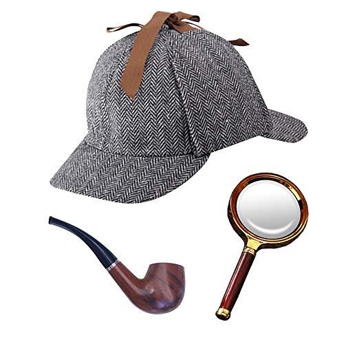 探偵 コスプレ セット 名探偵風 鹿撃ち帽 帽子 パイプ 虫眼鏡 推理家 コスプレ ハロウィン仮装 コスチューム小道具 子供用 3点セット