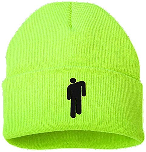 for Billie Eilish Cotone Casual Berretti per Le Donne degli Uomini di Inverno Lavorato A Maglia Solido del Cappello di Hip-Hop Skullies Cofano Berretto Unisex (Verde Fluorescente)