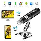 STPCTOU Wireless Digital Microscope 50X-1000X 1080P Handheld Portable Mini WiFi USB Microscope Camera with 8 LED Lights for iPhone/iPad/Smartphone/Tablet/PC
