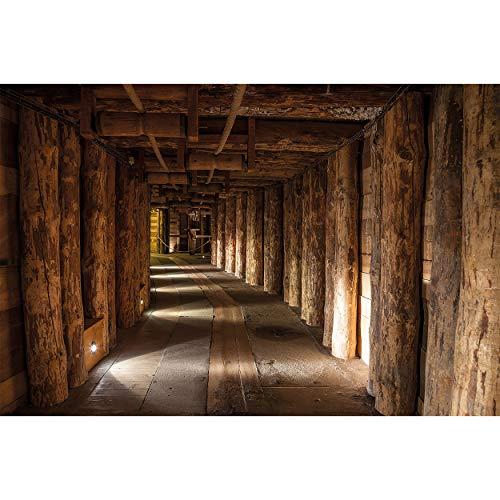 GREAT ART Fototapete – Salzbergwerk – Wandbild Dekoration Salzmine Wieliczka Polen UNESCO Weltkulturerbe Bergwerk Salz Mine Holz-Balken Natur Foto-Tapete Wandtapete (336 x 238 cm)
