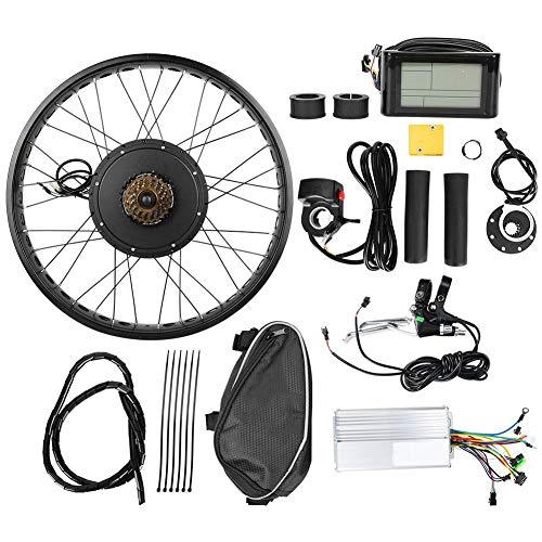 Kit de Conversión de Bicicleta Eléctrica, Rueda de 26x4 Pulgadas 48V 1000W Kits de Motor de Cubo Bicicleta Eléctrica IP54 Conjunto Controlador Potente a Prueba de Agua con Medidor LCD(Volante trasero)