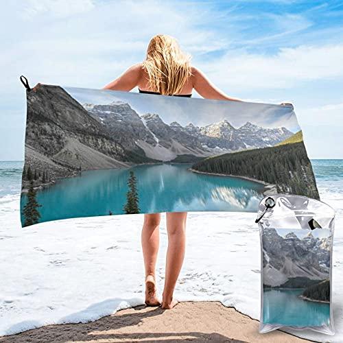 Toalla de playa de microfibra para acampar al aire libre, toalla de viaje de secado rápido, toalla deportiva Valley of the Ten Peak Banff National Park, súper absorbente, compacta, ligera, 80 x 160 cm