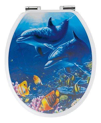 SITZPLATZ - 40123 4 - WC-Sitz Dekor 3-D----Delfine - WC Brille mit Absenkautomatik - Toilettensitz mit Holz-Kern & Fast-Fix Schnellbefestigung