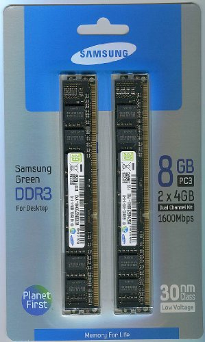 Samsung Electronics Extreme Low Voltage 30nm UDIMM 8 Dual Channel Kit DDR3 1600 (PC3 12800) 240-Pin DDR3 SDRAM MV-3V4G3D/US