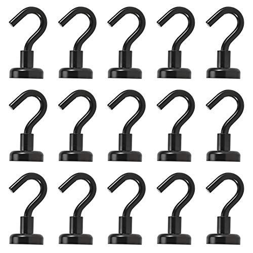 Anksixx Neodimio Gancho Magnético, 15 piezas Imanes con Gancho, 16mm Imanes Ultra Potentes Ganchos, Super fuerte Gancho Magnético para Cocina, cuarto de baño, frigorífico, Llavero (Negro)