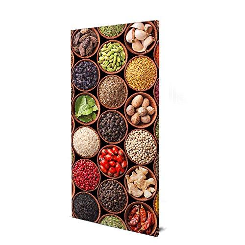 banjado Design Magnettafel groß | Magnetwand grau 78x37cm grau | Pinnwand magnetisch mit Magneten und Montageset | Magnetpinnwand mit Motiv Zutaten