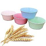 Cuencos de Paja de Trigo, FANDE Tazón de sopa biodegradable Ensalada Cuenco, 4 Piezas Cuenco para Cereales, Irrompibles, Reutilizables, para Cereales, Postre