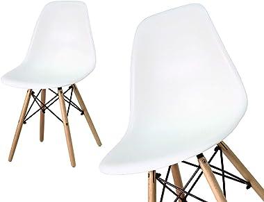 La chaise blanche sur pieds en hêtre pour salle à manger, cuisine, salon style scandinave moderne YA-01