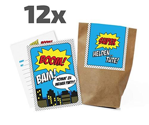 12x Superhelden Einladungskarten + Partytüten - Set zum Kindergeburtstag / Superheros / Superheldenparty / Heldenparty / Einladungen / Mitgebseltüten / Geschenktüten / Give-aways / Geburtstag / Set