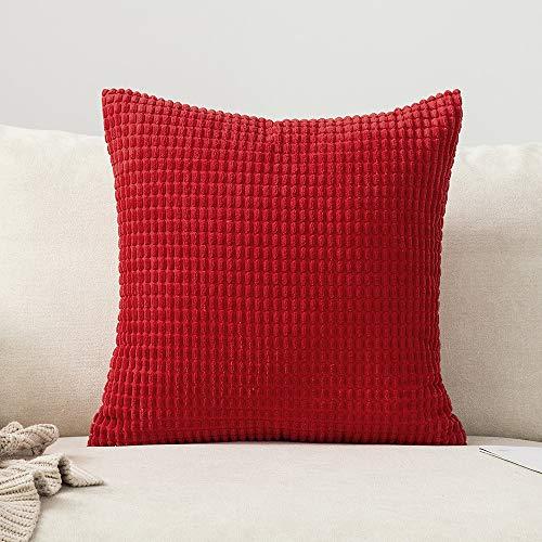 MIULEE 1 Stück Kordsamt Soft Solid Dekorative Quadrat Wurf Kissenbezüge Set Kissen Fall für Sofa Schlafzimmer 26 x 26 Zoll 65 x 65 cm Big Corn Rot