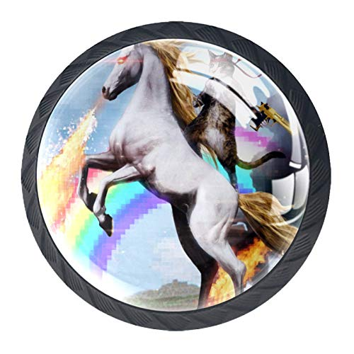 4 Niños Perilla de cajón Fantasía Gato Unicornio perilla del gabinete de muebles perilla de puerta del mueble de Cristal mango fijado con tornillos de los 35mm