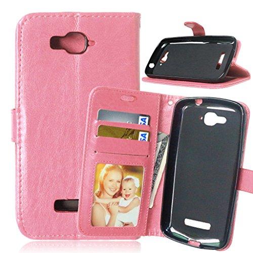 FUBAODA One Touch Pop C7 Hülle + Kostenlos Syncwire Ladekabel, Ledertasche Brieftasche Lederhülle, mit Etui Schutz Magnet Closure Folio Cover für for für Alcatel One Touch Pop C7 (7041D 7040D) (rosa)