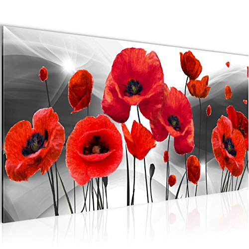 Bilder Blumen Mohnblumen Wandbild Vlies - Leinwand Bild XXL Format Wandbilder Wohnzimmer Wohnung Deko Kunstdrucke Rot Grau 1 Teilig - MADE IN GERMANY - Fertig zum Aufhängen 208912c