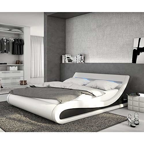 INNOCENT Polsterbett aus Kunstleder inkl. Lattenrost und LED-Beleuchtung Bellugia weiß, 180x200 cm