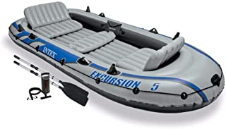 Intex Excursion 5 Person Inflatable Rafting and Fishing Boat w/ 2 Oars (4 Pack)