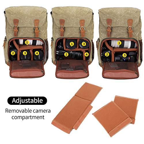 UBAYMAX Kamerarucksack Kameratasche, Wasserdicht Canvas Leinenstoff und Echt-Leder DSLR Rucksack, 15,6 Zoll Laptop Rucksack, Fotorucksack für Kamera Zubehör und Outdoor Sport Reise (Khaki)