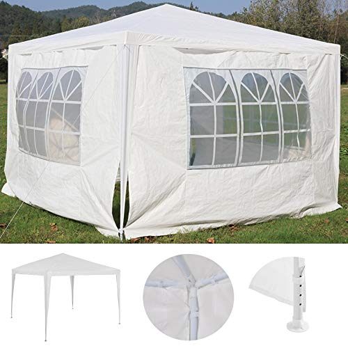 dicn White Gazebo 3x3 Meters with 4 Removable Sidewalls Outdoor Garden Party Tent Waterproof UV Protection Marquess Awning Canopy Steel Frame Polyethylene Cover Shelter