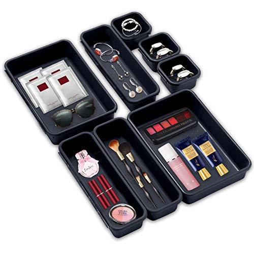 8 Stücke Schubladen Organizer,Oganizer Aufbewahrungsbox für Zuhause,Waschbare Aufbewahrungsbox,Bade Make-up Organizer,Büro & HomeAufbewahrungsbox,Transparent-Aufbewahrungsbox(Dunkelgrau)