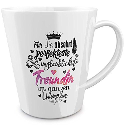 FunTasstic Tasse Für die absolut perfekteste Freundin - konische Kaffeepott 300 ml 100% handmade in Deutschland - zum Tee, Kaffee, als Geschenkidee mit Spruch, witzig, Küche Deko