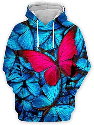 yyqx container 3D Sweatshirt Hoodie Vlinder Unisex Hooded Casual Hoodies Mode Sweatshirt 3D Printing Hoodie Opvallende Truien met Kangoeroe Pocket