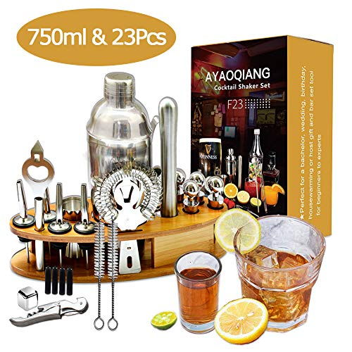 AYAOQIANG Shaker Cocktail 23 Pices, Acier Inoxydable Shaker...
