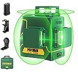 Livella laser Verde, POPOMAN 3x360° Professionale Linea Laser Croce, USB Ricarica, Autolivellante e Funzione Impulso, borsa per il trasporto (incl. 5200mAh batteria al litio e Base magnetica)