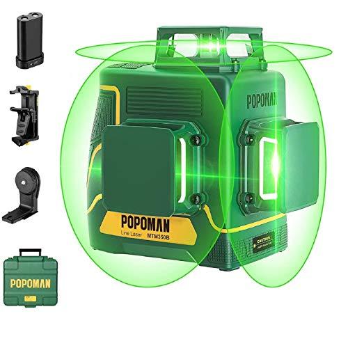 POPOMAN Livella laser Verde, 3x360° Professionale Linea Laser Croce, USB Ricarica, Autolivellante e Funzione Impulso, borsa per il trasporto (incl. 5200mAh batteria al litio e Base magnetica)