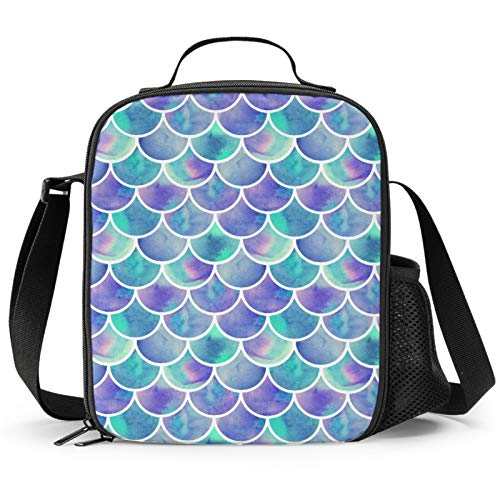 PrelerDIY Mermaid Scale Lunch Box - Insulated Lunch Box for Kids Tie Dye Design with Side Pocket & Shoulder Strap Lunch Bag, Perfect for School/Camping/Hiking/Picnic/Beach/Travel