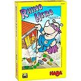 HABA 302203 - Rhino Hero, jeu d'empilage en 3D pour 2 à 5 super-héros âgés de 5 ans et plus, avec des règles simples pour s'amuser rapidement, jeu d'action pour toute la famille
