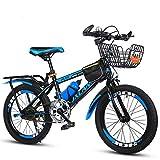 JHKGY Bicicleta De Velocidad Variable para Niños,Twist Shifters,Frenos Delanteros Y Traseros,con Cesta Y Asiento Trasero, para Jóvenes Jinetes Que Buscan Una Aventura,Azul,22 Inches