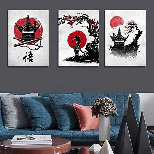 Canvas Painting 3 Panel Dragon Ball Goku Anime Poster Japan Artwork Canvas Painting Poster And Print Black White Wall Picture Room Decor Cuadros abstract 50x70cmx3pcs(20x28inchx3pcs)