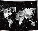 Amiiba - Tapiz de pared con mapa del mundo, color blanco y negro