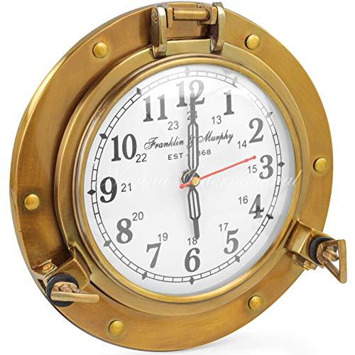 Antique Brass Nautical Porthole Clock with Franklin Murphy's Analog Beautiful Clock Face | Nagina International Maritime Decor (Antique Brass)
